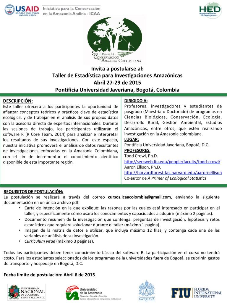 Actualización-Anuncio Curso Estadística 2015