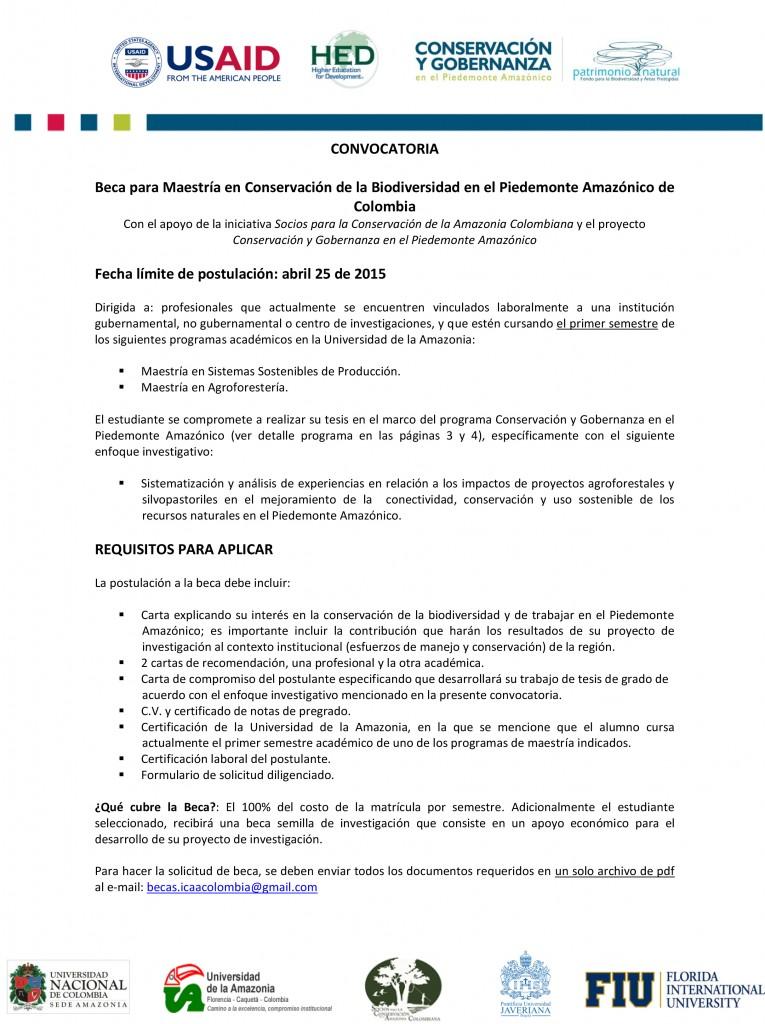 Anuncio-Becas Piedemonte Amazónico-Convocatoria II-1